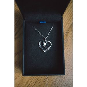Jewelry - Sterling Silver Black Diamond Heart  Necklace